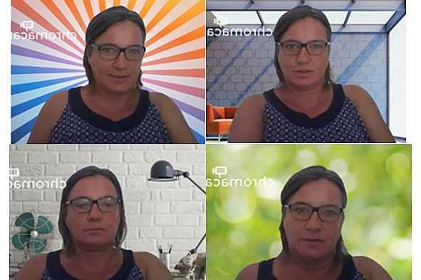Vier Bildschirmfotos von Videobildhintergründen