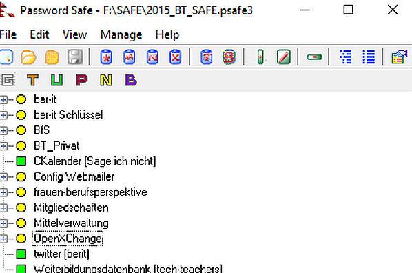Bildschirmfoto Passwort-Safe