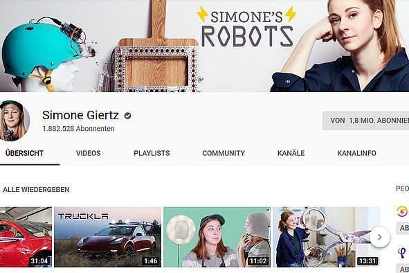 Bildschirmfoto des YouTube-Kanals von Simone Giertz
