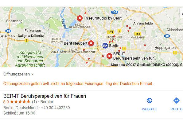 Bildschirmfoto BER-IT bei Google Maps