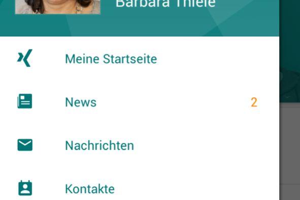 Bildschirmfoto XING-App
