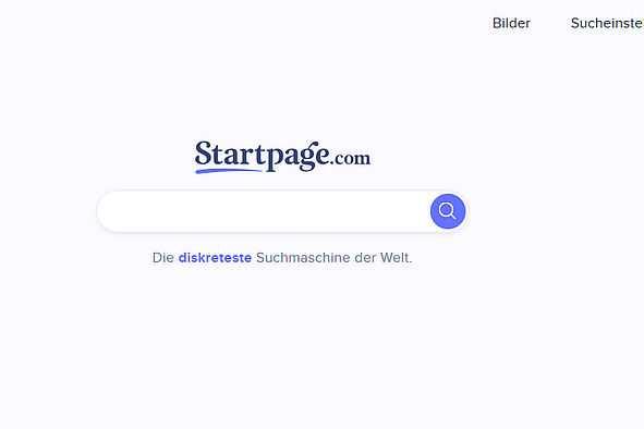 Bildschirmfoto Suchmaschine Startpage.com