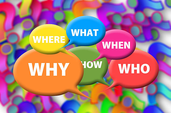 Sprechblasen mit W-Fragen
